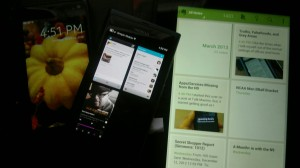 Nokia N950, N9 (apps view), & Kindle Fire HD (showing Evernote)